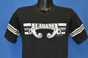 vintage 80s ALABAMA COUNTRY SOUTHERN CLASSIC ROCK BAND V-NECK BLACK t-shirt S