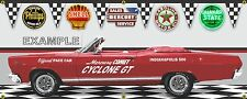 1966 MERCURY CYCLONE GT RED INDY 500 PACE CAR GARAGE SCENE BANNER SIGN ART 2'X5'