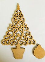 Wooden MDF Blank Christmas Tree, Craft, Decoupage, Free Baubles XMAS