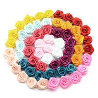 100pcs Satin Ribbon Rose Flower Bow Appliques Party Wedding Home DIY Decor