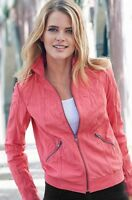 NEW WOMEN REAL LEATHER JACKET GENUINE RED BIKER CORAL SHORT UK 8 10 12 14 S M L