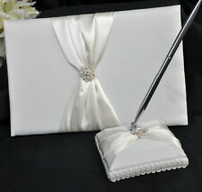 Ivory Sach White Wedding Guest Book Register Silver Pen Set & Ribbon Bow Cover