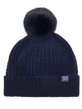 Joules DONNA BELLE Cable Knit Navy Pompon cappello AW16-Taglia unica