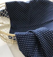Rayon silk fabric BY THE YARD navy polka dot Dress blouse 2mm dots flowy JR3/34=