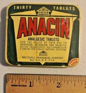 Vintage 1950s/60s ANACIN ASPIRIN Medicine TIN Whitehall Pharmacal NOS  -- 1598
