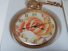 Reloj de mujer de bolsillo por PWC, Cuarzo Suizo, Espejo Compacto, cadena a juego NUEVO