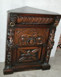 RAre French antique Wood carved satyr lion putti head cornet cabinet