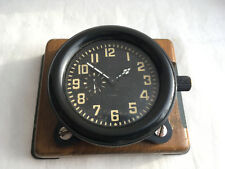 USSR Aircraft Cockpit Military Zlatoust Clock w/ Wooden Stand