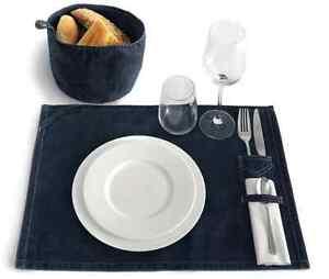 Denim Placemat Table Bread Basket Platzdeckchen Körbchen Picknick Set Frühstück