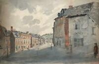FIGURES IN STREET SCENE LANDSCAPE Antique Watercolour Painting c1900