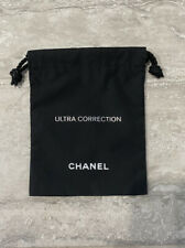 New Authentic Chanel Logo Black Drawstring Makeup Jewelry pouch Dust Bag