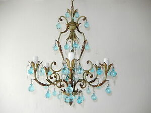 ~ c 1920 Green French Rare Aqua Blue Murano Balls and Crystal Prisms Chandelier~