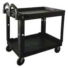 Zoro Select 52tv60 Polypropylene Utility Cart With Deep Lipped Plastic Shelves