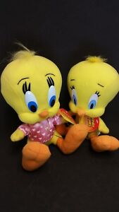 """TWO 8"""" 9"""" Tweety Bird Looney Toons Plush 1998 1999 Rare Russell Stover With Tags"""