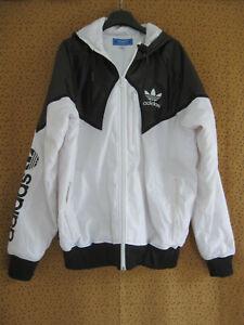 Blouson Adidas à capuche Blanc et noir Hiver Parka Homme Veste Vintage - L