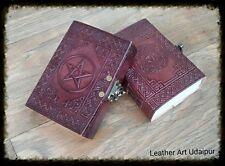 Handmade Pentagram Leather Journal  Blank Book Of Shadows- Lock Wicca Pentacle