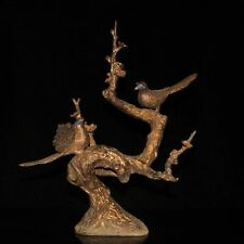 Chinese exquisite handmade pure copper inlaid gem tree statue 64565