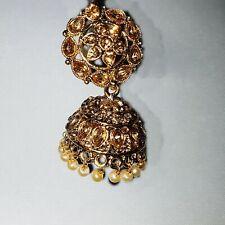Ladies Indian Earrings Jumka Jumki Gold Stones Dangle Drop Jhumka Bollywood 1121