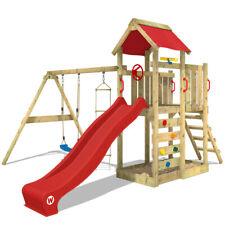 Aire de jeux WICKEY MultiFlyer - Portique bois avec balançoire et toboggan rouge