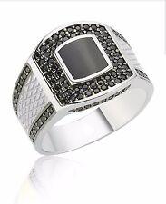 Bague Chevalière Homme Argent massif 925 Serti onyx zirkon Men Silver Ring