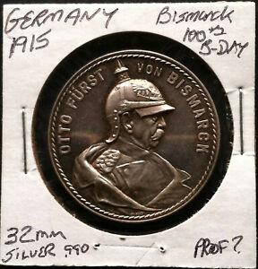 1915 Germany Silver Medal - Otto von Bismarck 100th Birthday