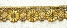 GOLD EMBROIDERED ORGANZA TRIM/RIBBON - SOLD PER METRE - 6.5CM'S WIDE