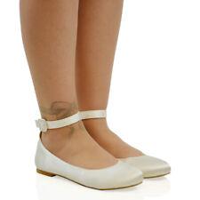 1d2aa02b9 Womens Flat Ankle Strap Ballet Pumps Ladies Ballerina Party Bridal Smart  Shoes