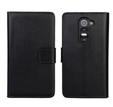 LG G2 D802 custodia in pelle a portafoglio nero flip case cover