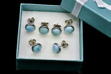 Larimar Studs  8mm Three Pairs (Wholesale Price) .925 Sterling Silver