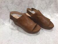 Stuart Weitzman Brown/Cognac Leather Open Toe Wedge Sandal Size 9.  EUC