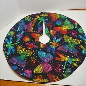 "Handmade Mini 18"" Christmas tree skirt rainbow butterflies bees insects birthday"