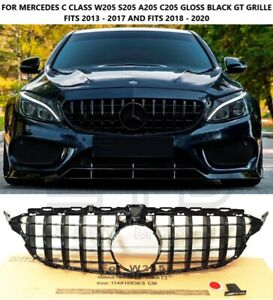 For MERCEDES C CLASS W205 C220 C350 C200 C43 AMG GT STYLE GLOSS BLACK GRILLE