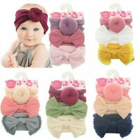 3Pcs Girl Baby Toddler Turban Solid Headband Hair Band Bow Accessories Headwear