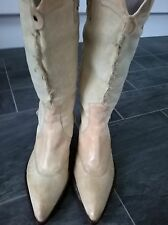 NEW SIZE 5 WOMENS LADIES BEIGE LEATHER UPPER AND CANVAS COWBOY WESTERN BOOTS