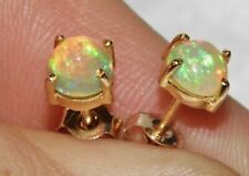 9ct Yellow Gold Natural Ethiopian Opal Stud Earrings - Solid 9k Gold