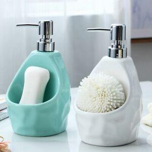 Simple Ceramic Liquid Soap Dispenser Sponge Caddy Storage Kitchen Bathroom Use