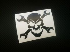 SKULL AND SPANNERS car/window/wall/laptop/boat vinyl decal/sticker