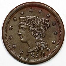1850 N-12 EDS Braided Hair Large Cent Coin 1c