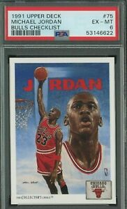 1991 Upper Deck #75 Michael Jordan HOF Bulls Checklist PSA 6 EX-MT