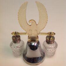 VTG American Eagle/Silver Bell Glass Salt and Pepper Shakers 1950's Japan