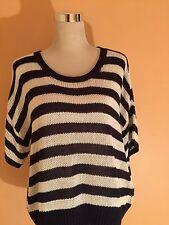 Ladies - New - Navy & Cream Stripe Jumper - Size L