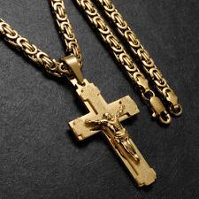 Herren Kette mit Kreuz Jesus Anhänger 6mm Panzerkette 750er Gold vergoldet 60cm
