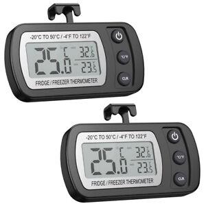 2*Wireless Refrigerator Thermometer Digital LCD Alarm Fridge Freezer Temperature