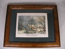 "Reprint:  Currier and Ives Print ""Winter in the Country"" Wooden Carved Oak Frame"