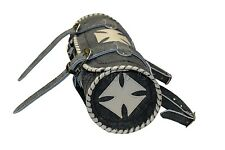 Vintage Gothic Motorcycle Biker Leather Tool Rool Bag with Creme Iron Cross