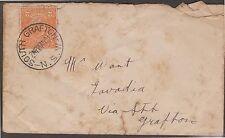 (RN25)1921 AU 2cOrange KGV envelopeCancel south Grafton