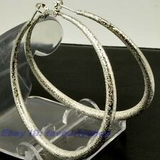 "2.28""8g BIG MATTED CIRCLE REAL 18K WHITE GOLD PLATED HOOP EARRINGS SOLID GP f14"