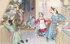 Vermenschlichte Katzen Unfall im Haushalt AK alt Künstler Tiere cats 1607288