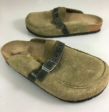 Birkenstock Womens 5 US 7 EU Green Suede Slides Shoes Made in Germany