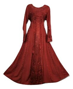 Boho Maxi Dress Winter Festive RED Long Sleeve Corset Medieval Embroidered